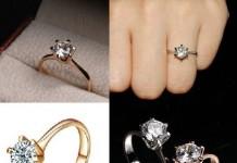 Beautiful Pakistan diamond finger rings pictures designer stone gold engagement girls Women PRICE RS 1450