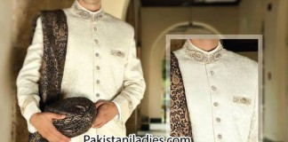 Latest-Fancyl-Junaid-Jamshed-Wedding-Sherwani-Designs-Collection-Men-Groom-2014-2015-Gents-off-white-in-Pakistan-India-Facebook