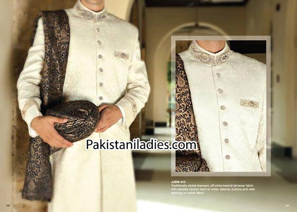 Latest-Fancyl-Junaid-Jamshed-Wedding-Sherwani-Designs-Collection-Men-Groom-2014-2015-Gents-off-white-in-Pakistan-India-Facebook