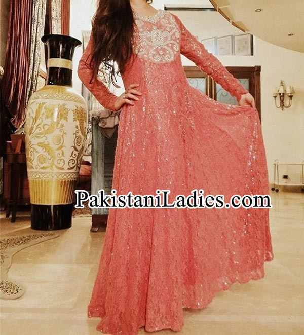 Princess Dresses Long Frock  with Choori Pajama Design 2014 2015 for Girls In Pakistan India Facebook Collection