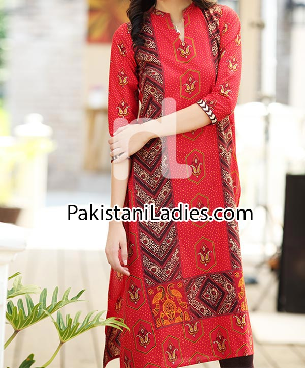 Red Kameez Nishat Linen Eid Summer Designs Collection 2014 for Women Girls Long Shirt Price Nisha Fashion Dress PKR1,960.jpg-p