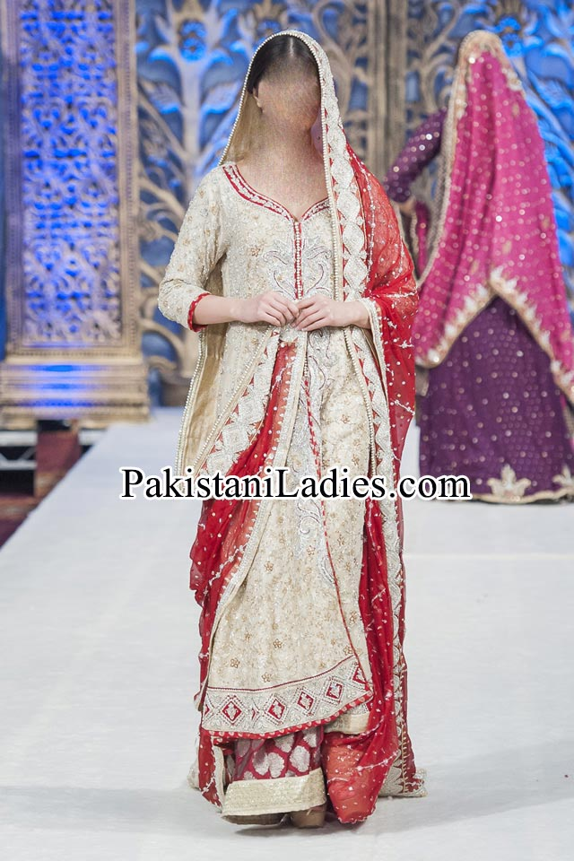 Walima Beautiful Mona Imran Bridal Collection at London Fashion Week 2014 frock Pakistani Indian Designer Bridal Lehenga with Choli Open Shirt