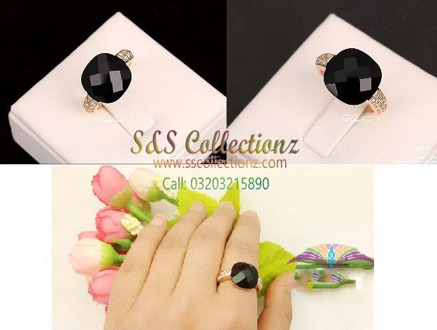 pearl Beautiful Pakistan diamond finger rings pictures designer Black stone gold engagement girls Women PRICE RS 2250