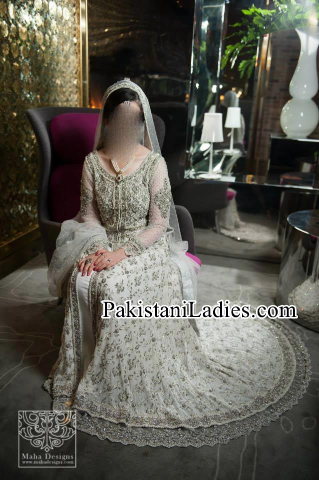 Bridal Wedding Dresses Walima White Frock 2014 2015 Pakistan India Bangladesh Open Shirt
