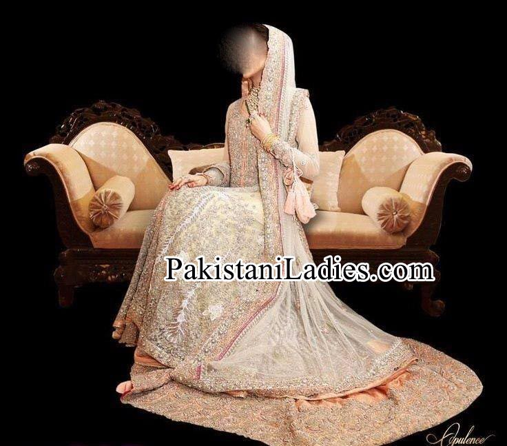 Bridal Wedding Dresses Walima White Frock 2014 2015 Pakistan India Bangladesh