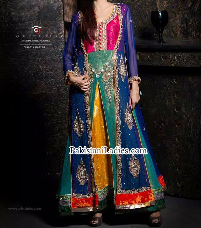 Colorful Bridal Walima Fancy Party and Wedding Dresses Open Shirt 2014 2015 India Pakistan Bangladesh Fcebook