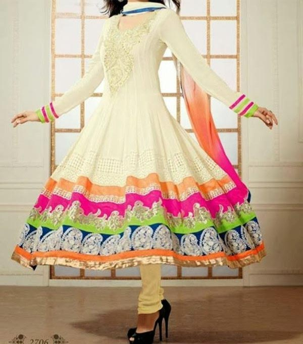 Latest Anarkali Frocks Dresses Designs 2014 2015 India Pakistan Bangladesh Fashion Trends Churidar Pajama