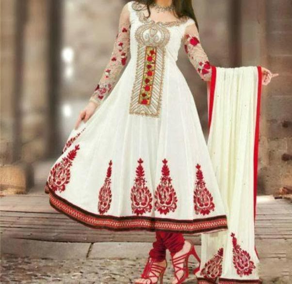 Latest Anarkali Frocks Dresses Designs 2014 2015 India Pakistan Bangladesh Fashion Trends  Red White