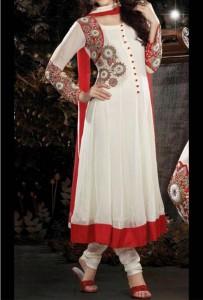 Latest Anarkali Frocks Dresses Designs 2014 2015 India Pakistan Bangladesh Fashion Trends White