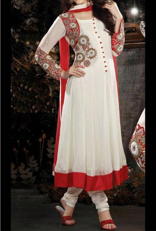 Latest Anarkali Frocks Dresses Designs 2014 2015 India Pakistan Bangladesh Fashion Trends White