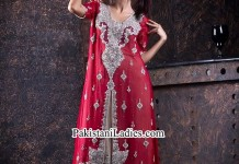 Red Net Bridal Walima Fancy Party and Wedding Dresses Open Shirt 2014 2015 India Pakistan Bangladesh Fcebook
