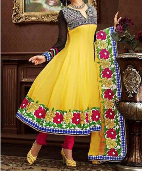 Yellow Latest Anarkali Frocks Dresses Designs 2014 2015 India Pakistan Bangladesh Fashion Trends Churidar Pajama