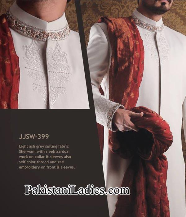 J. Couture  Junaid Jamshed Groom Sherwani Designs 2014 2015 White Men Wedding