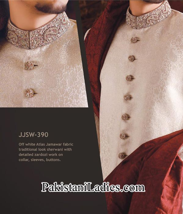 J. Couture  Junaid Jamshed Groom Sherwani Designs 2014 2015 off White Men Wedding