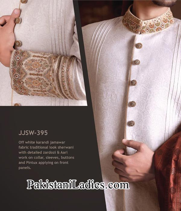 J. Couture  Junaid Jamshed Groom Sherwani Designs 2014 2015 off White Men