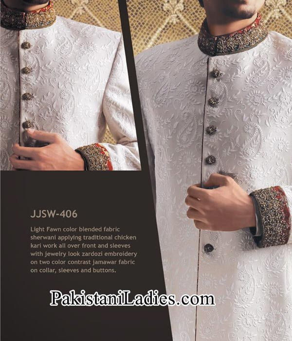 J. Couture Junaid Jamshed Groom Simple Sherwani Designs 2014 2015 Fancy White Men Wedding