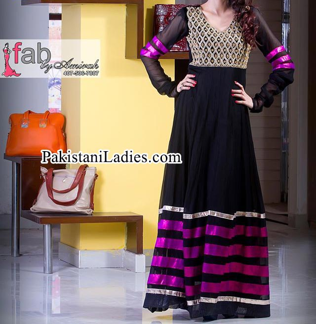 Fashion Of Black Fancy Long Umbrella Frock Design 2015 2014