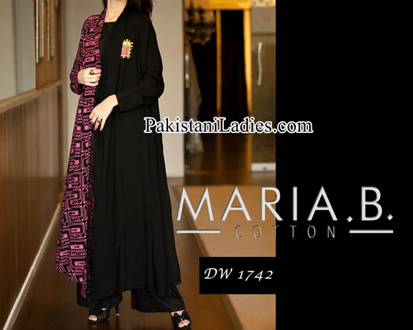 Winter Collection Maria B Black Girls Long Frocks Design 2014 2015 Party Dresses Evening Wedding Facebook Pakistan India