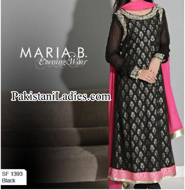Winter Collection Maria B Black Long Frocks Design 2014 2015 Party Dresses Evening Wedding Facebook