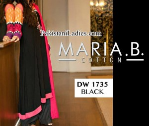 Winter Collection Maria B Black Long Tail Frocks Design 2014 2015 Party Dresses Evening Wedding Facebook