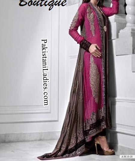Fashion Trends Of Long Tail Frock Gown Bridal Dresses 2014 2015 For Walima In Pakistan India