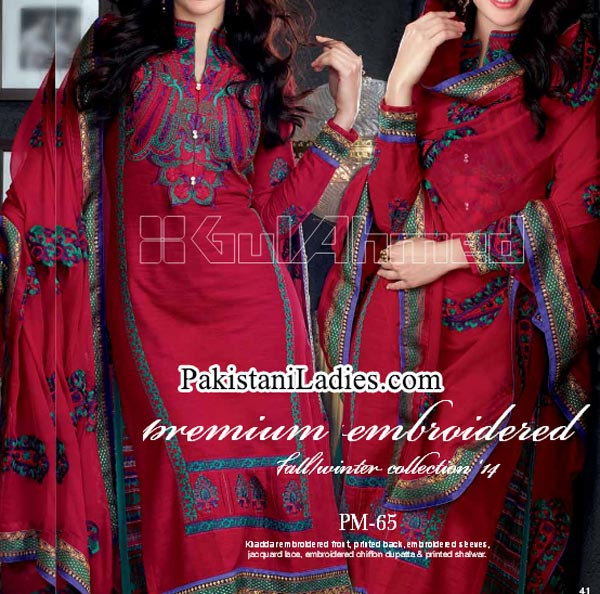 Gul Ahmed Fashion Winter Dresses Collection 2014 2015 volume 1 for Women Girls Long Shalwar Kameez
