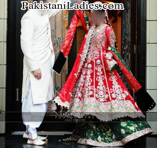 Latest bridal lehenga in red and green combination Designs 2015 irfan ahson photography bridal wedding Dresses 2014 Facebook