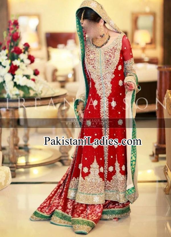 Latest bridal lehenga in red and green combination Designs 2015 irfan ahson photography bridal wedding Dresses 2014 India Pakistan