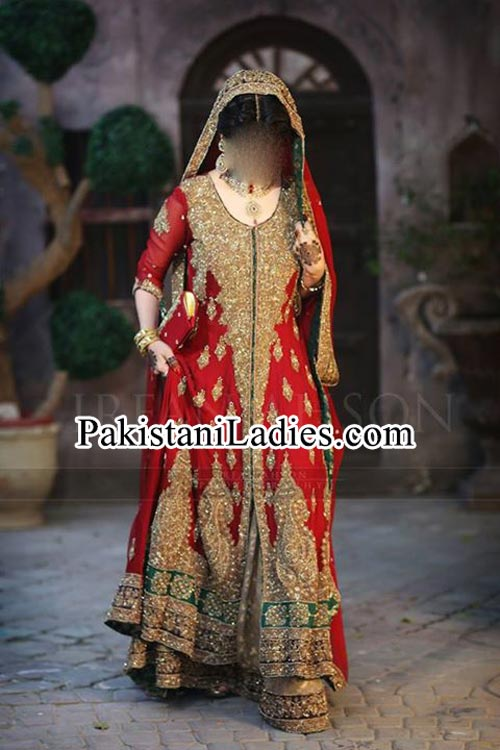 Latest bridal lehenga in red and green combination Designs 2015 irfan ahson photography bridal wedding Dresses 2014 Pakistan India