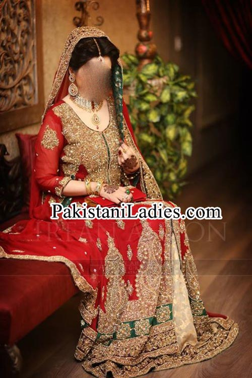 Latest bridal lehenga in red and green combination Designs 2015 irfan ahson photography bridal wedding Dresses 2014 Pictures Pakistan India