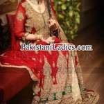 Latest Bridal Lehenga in Red and Green Combination 2014 2015
