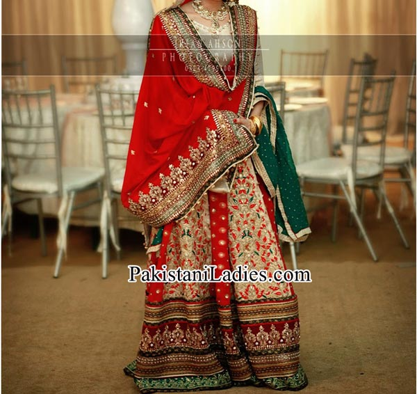 Latest bridal lehenga in red and green combination Designs 2015 irfan ahson photography bridal wedding Dresses 2014