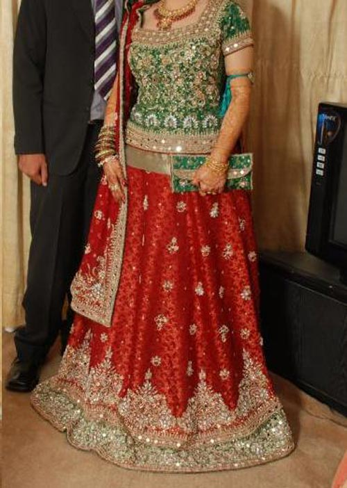 Latest bridal lehenga in red and green combination Designs 2015 wedding Dresses 2014 India