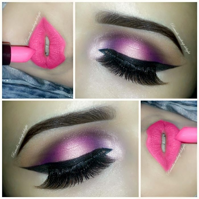 Pink and purple smokey eye makeup