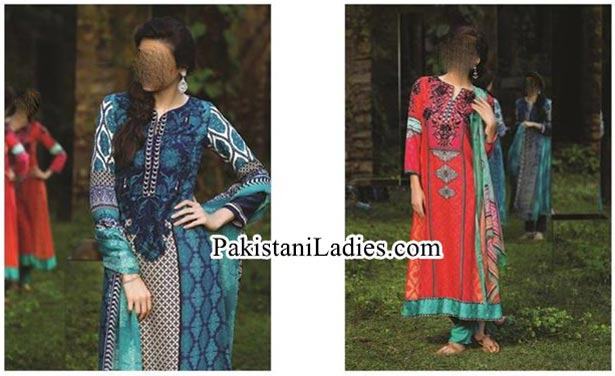 MARIA.B. Indian Pashmina Winter Dresses Long Salwar Kameez Designs Collection 2014 2015 for Women and Girls