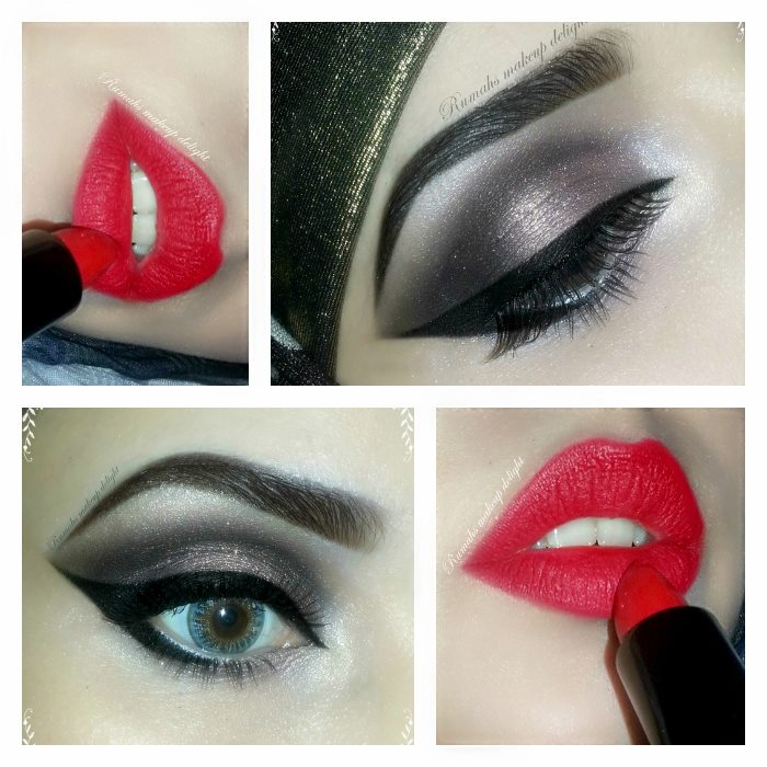 Smokey Eyes Makeup Party tips pictures Open Eye Makeup Tips Bridal Pakistan India Facebook 2014 2015 Red Lipstick