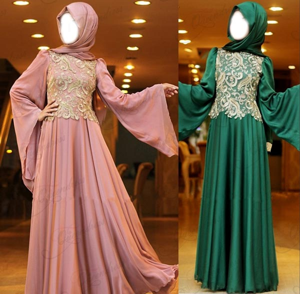 2015 Latest Fashion Arabic Style Muslim Maxi Dress for Wedding  Kaftan Jalabiya Design Flare Long Sleeve Dreen Pink UK Dubai