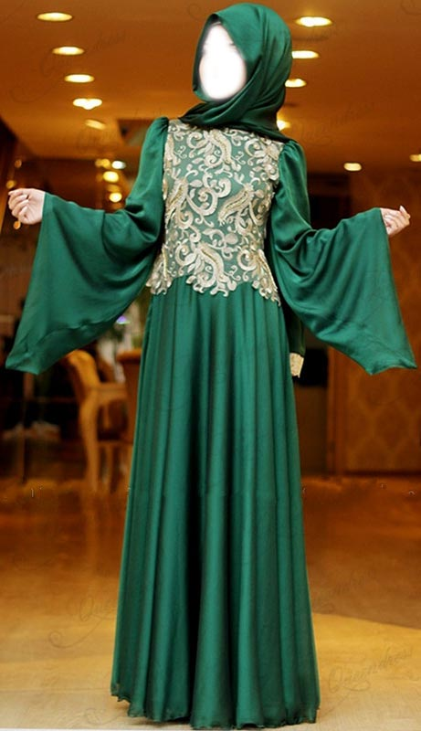 2015 Latest Fashion Arabic Style Muslim Maxi Dress for Wedding  Kaftan Jalabiya Design Flare Long Sleeve Green Bridal UK