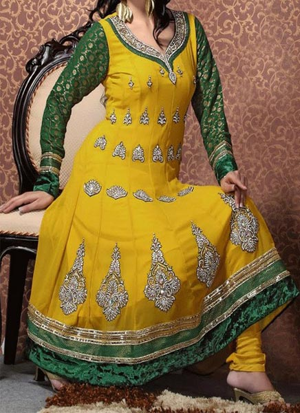 Mehndi Mayon Yellow Dress Frock Stylish Designs 2015 Indian