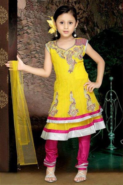 Beautiful-Kids-Anarkali-Frocks-Suit-Designs-2015-Indian-Collection-Pakistani-Party-Wedding-Yellow