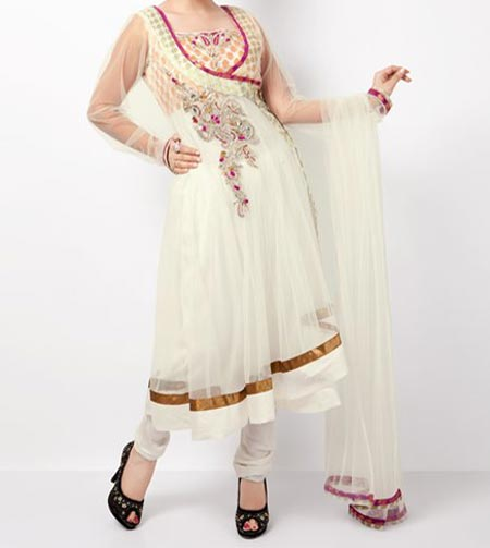 Beautiful Latest Fashion 2015 of Angrakha Style Anarkali Frock Suits Churidar in India Pakistan White