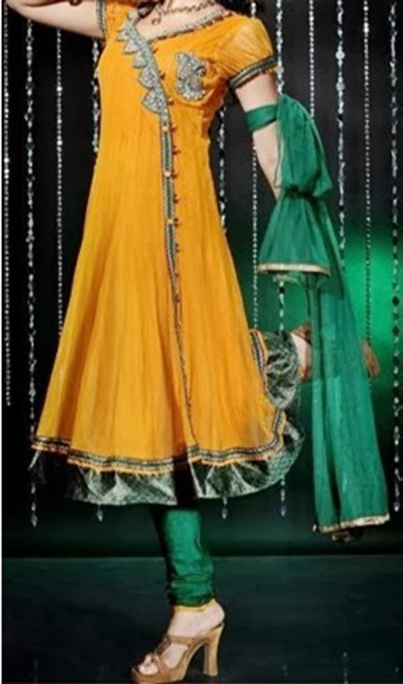 Beautiful Latest Fashion 2015 of Angrakha Style Anarkali Frock Suits Churidar in India Pakistan Yellow Green