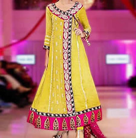 Beautiful Latest Fashion 2015 of Angrakha Style Anarkali Frock Suits Churidar in India Pakistan Yellow