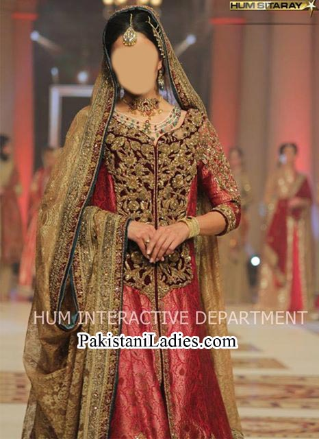 Beautiful Long Tail Gown Frock Bridal Wedding Dress 2015 by Pakistani Fashion Designer