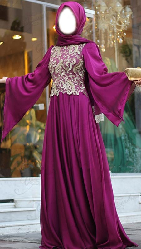 Bridal 2015 Latest Fashion Arabic Style Muslim Maxi Dress for Wedding Design Kaftan Jalabiya  Hijab purple