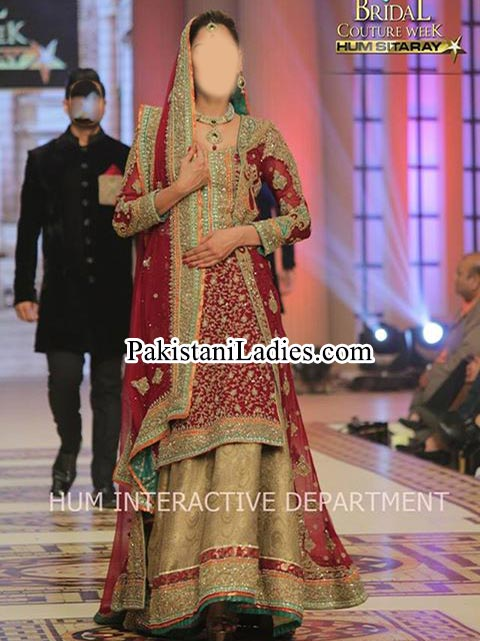 Bridal Wedding Dresses 2015 Fashion of Long Shirt Red Green Lehenga Choli Plazo Palazzo Frock Open Pakistan