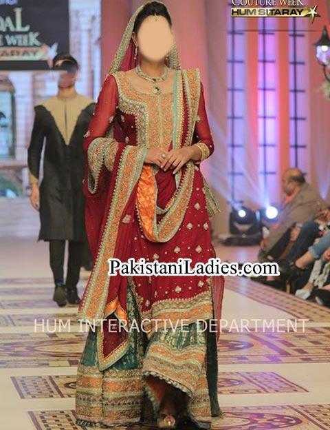 Bridal Wedding Dresses 2015 Fashion of Long Shirt Red Green Lehenga with Plazo Palazzo