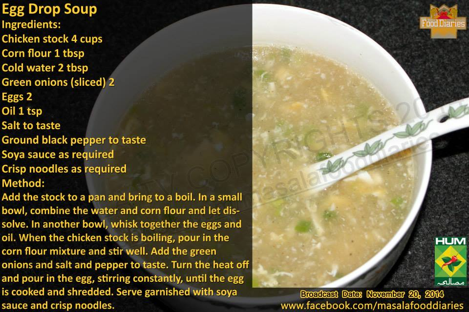 Egg Drop Soup Recipe in English by Food Diaries Zarnak Sidhwa Masala TV Facebook Winter
