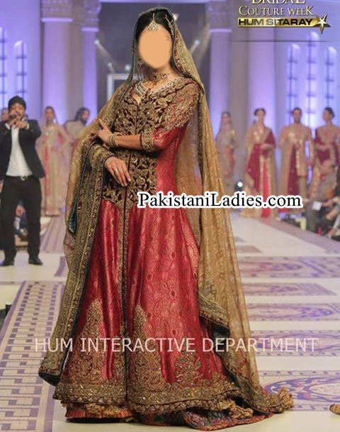 Fancy Long Tail Gown Frock Bridal Wedding Dress 2015 by Pakistani Fashion Designer