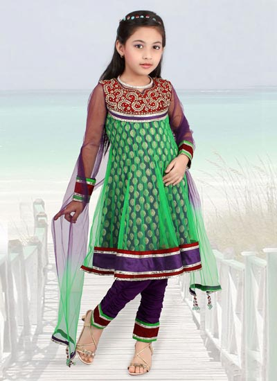Green-Kids-Anarkali-Frocks-Suit-Designs-2015-Indian-Collection-Pakistani-Party-Wedding